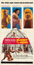 """Movie Posters:Science Fiction, Planet of the Apes (20th Century Fox, 1968). Very Fine- on Linen. Three Sheet (41"""" X 78.5"""").. ..."""