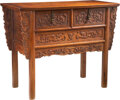Furniture, A Chinese Huanghuali Coffer with Double Drawers. 35 x 44 x 19-3/4 inches (88.9 x 111.8 x 50.2 cm). ...