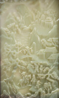 Furniture, A Large Chinese Carved Celadon Jade Plaque Table Screen. Marks: Four-character incised mark to reverse. 21-3/4 x 13-1/8 inch...