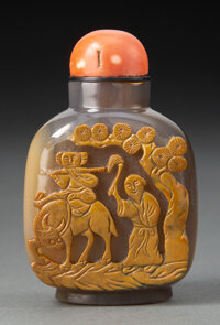 A Chinese Carved Agate Snuff Bottle, 19th century 2-3/4 x 1-5/8 x 1-1/4 inches (7.0 x 4.1 x 3.2 cm)
