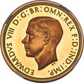 Great Britain, Great Britain: Edward VIII gold Proof Pattern 5 Pounds 1937 PR67 Ultra Cameo NGC,...