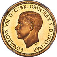 Great Britain: Edward VIII gold Proof Pattern 5 Pounds 1937 PR67 Ultra Cameo NGC