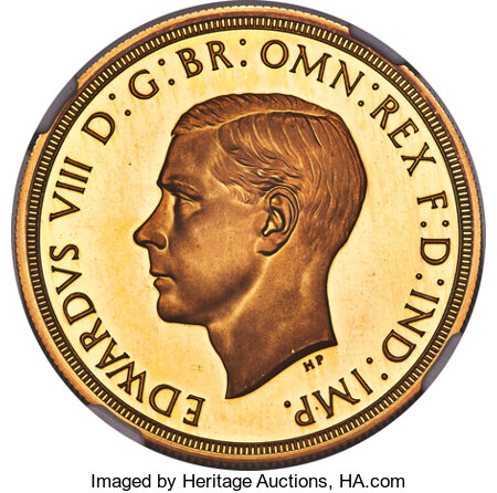 Great Britain: Edward VIII gold Proof Pattern 5 Pounds 1937 PR67 Ultra Cameo NGC,...