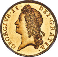 Great Britain: George II gold Proof 5 Guineas 1731 PR64+ Cameo NGC