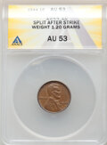 Errors, 1944 1C Lincoln Cent -- Split After Strike -- AU53 ANACS. (1.20 grams).. From