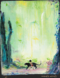 "The Jungle Book ""Mowgli and Bagheera"" Giclée de Harrison Ellenshaw 4/30 (Walt Disney, c. 2000s)"