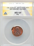 Errors, 1975 1C Lincoln Cent -- Double Struck, Second Strike 95% Off Center Uniface -- MS64 Red and Brown ANACS.. Fro...