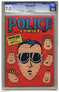 Police Comics #43 (Quality, 1945) CGC VF- 7.5 Cream to off-white pages. Plastic Man story drawn by Jack Cole (who also d...