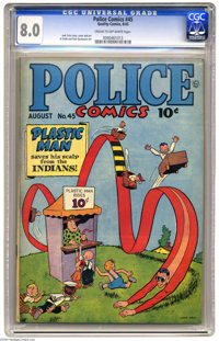 Police Comics #45 (Quality, 1945) CGC VF 8.0 Cream to off-white pages. Jack Cole story, cover, and art. Overstreet 2004...