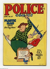 Police Comics #67 (Quality, 1947) Condition:; GD/VG. Plastic Man gets a haircut. The Spirit, Manhunter, and Honeybun app...