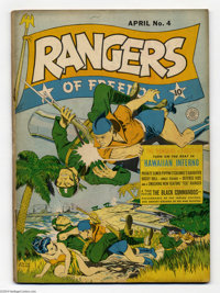 Rangers Comics #4 (Fiction House, 1942) Condition: VG. Dan Zolnerowich cover. Overstreet 2004 VG 4.0 value = $120