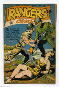 Golden Age (1938-1955):War, Rangers Comics #19 (Fiction House, 1944) Condition: FN+. Bondagecover, with a Japanese soldier taking a bayonet to the gut!...