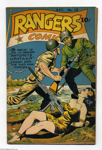 Rangers Comics #19 (Fiction House, 1944) Condition: FN+. Bondage cover, with a Japanese soldier taking a bayonet to the...