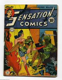 Sensation Comics #18 (DC, 1943) Condition: GD+. Wonder Woman cover/story. Overstreet 2004 GD 2.0 value = $96