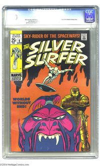 "The Silver Surfer #6 (Marvel, 1969) CGC VF 8.0 White pages. ""Tales of the Watcher"" backup story. John Buscema..."