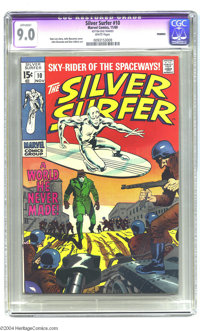 The Silver Surfer #10 (Marvel, 1969) CGC Apparent VF/NM 9.0 White pages. The Surfer walks among men. John Buscema artwor...