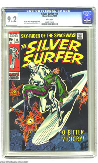"The Silver Surfer #11 (Marvel, 1969) CGC NM- 9.2 White pages. Remarkably crisp copy. Small ""10-21"" date in gre..."