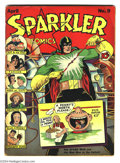 Golden Age (1938-1955):Superhero, Sparkler Comics #9 (United Features Syndicate, 1942) Condition: VG. Spark Man's new costume debuts. Tarzan backup feature. O...