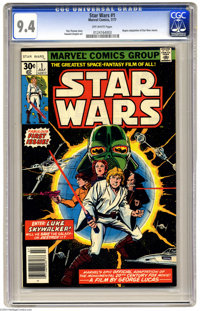 Star Wars #1 (Marvel, 1977) CGC NM 9.4 Off-white pages. Begins adaptation of Star Wars movies. Howard Chaykin art. Overs...