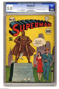 Superman #16 (DC, 1942) CGC VG/FN 5.0 Tan to off-white pages. This is the first time Lois Lane is featured on the cover...