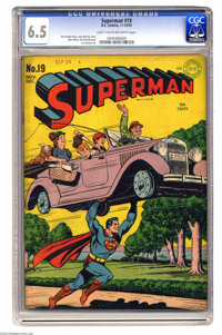Superman #19 (DC, 1942) CGC FN+ 6.5 Light tan to off-white pages. The first story in this issue introduces a villain nam...