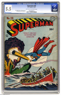 Superman #20 (DC, 1943) CGC FN- 5.5 Light tan to off-white pages. Jack Burnley's striking war cover has Superman saving...