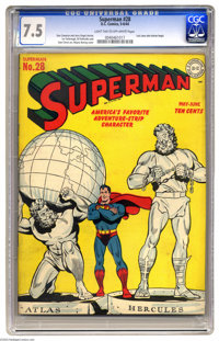 Superman #28 (DC, 1944) CGC VF- 7.5 Light tan to off-white pages. Atlas shrugged, Hercules mugged, and Superman flexed o...