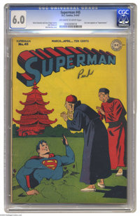 "Superman #45 (DC, 1947) CGC FN 6.0 Off-white to white pages. Lois Lane appears as ""Superwoman."" Jack Burnley c..."