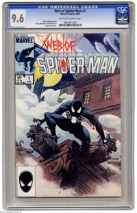 Web of Spider-Man #1 (Marvel, 1985) CGC NM+ 9.6 Off-whit to white pages. Early appearance of the black costume. Charles...
