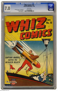 Whiz Comics #10 (Fawcett, 1940) CGC FN/VF 7.0 White pages. C. C. Beck cover. Beck, Pete Costanza, and Mac Raboy art. Ove...