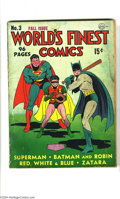 Golden Age (1938-1955):Superhero, World's Finest Comics #3 (DC, 1941) Condition: GD. Batman, Robin, and Superman play baseball on this popular cover. This iss...