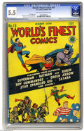 Golden Age (1938-1955):Superhero, World's Finest Comics #10 (DC, 1943) CGC FN- 5.5 Light tan to off-white pages. The Boy Commandos story by none other than Si...