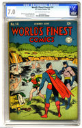 Golden Age (1938-1955):Superhero, World's Finest Comics #14 (DC, 1944) CGC FN/VF 7.0 Light tan to off-white pages. Jack Burnley's cover shows us a lighthearte...