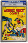 Golden Age (1938-1955):Superhero, World's Finest Comics #15 (DC, 1944) CGC FN/VF 7.0 Tan to off-white pages. This baseball cover proves it: Superman is a thie...