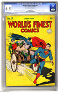 Golden Age (1938-1955):Superhero, World's Finest Comics #17 (DC, 1945) CGC FN+ 6.5 Light tan to off-white pages. On Jack Burnley's cover, the Dynamic Duo gets...