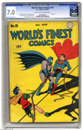 Golden Age (1938-1955):Superhero, World's Finest Comics #19 (DC, 1945) CGC FN/VF 7.0 Light tan to off-white pages. We always knew Batman and Superman were goo...