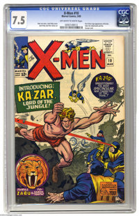 X-Men #10 (Marvel, 1965) CGC VF- 7.5 Off-white to white pages. The first Silver Age appearance of Ka-Zar, Zabu, and the...