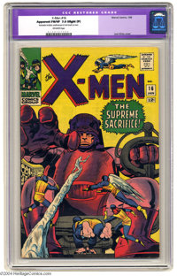 """X-Men #16 (Marvel, 1966) CGC Apparent FN/VF 7.0 Off-white pages. Jack Kirby cover. CGC notes """"Restoration includes:..."""