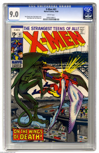 X-Men #61 (Marvel, 1969) CGC VF/NM 9.0 White pages. Stunning copy; much cover gloss. Neal Adams and Tom Palmer art. Saur...