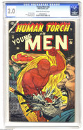 """Golden Age (1938-1955):Superhero, Young Men #28 (Atlas, 1954) CGC GD 2.0 Cream to off-white pages. From Atlas' brief """"superhero revival"""" of the 1950s, this is..."""