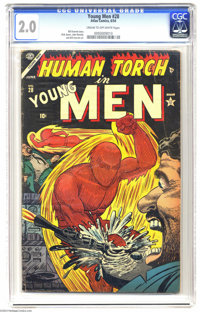 "Young Men #28 (Atlas, 1954) CGC GD 2.0 Cream to off-white pages. From Atlas' brief ""superhero revival"" of the..."