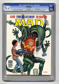 """Mad #268 Gaines File pedigree (EC, 1987) CGC NM 9.4 White pages. """"Aliens"""" and """"Ferris Bueller's Day Off&q..."""