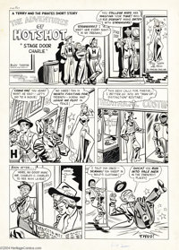 """Al Avison - Terry and the Pirates #14 Complete 3-page Story """"Stage Door Charlie"""" Original Art (Harvey, 1949)..."""