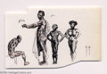 Original Comic Art:Sketches, Frank Frazetta - Four African Figure Studies Sketch Original Art (undated). Four very detailed ink figure studies with touch...