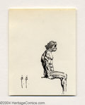 Original Comic Art:Sketches, Frank Frazetta - Seated Caveman Sketch Original Art (undated). A careful ink study of the muscles at play in this seated cav...