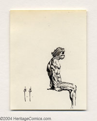 Frank Frazetta - Seated Caveman Sketch Original Art (undated). A careful ink study of the muscles at play in this seated...