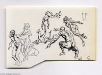 Frank Frazetta - Action Figures Sketch Original Art (undated). Frank Frazetta is known for his ability to portray explos...