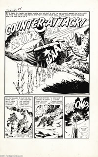 """Manny Stallman - True War Experiences #1 Complete 5-page Story """"Counter-attack!"""" Original Art (Harvey, 1952)..."""