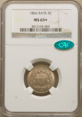 Shield Nickels, 1866 5C Rays MS65+ NGC. CAC. NGC Census: (177/22 and 3/1+). PCGS Population: (170/54 and 8/7+). CDN: $1,000 Whsle. Bi...