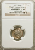 Errors, 1923-S 10C Mercury Dime -- Struck 10% Off Center -- VF35 NGC.. From The Don ...